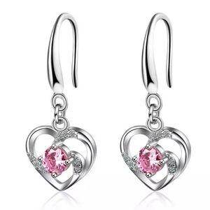 🎀S925 Pink Heart Drop Earrings
